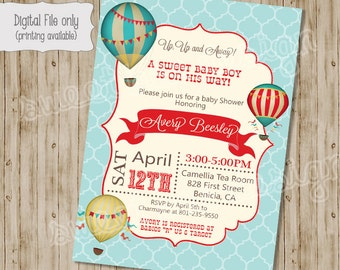 Baby Shower Invitation, Hot Air Balloon Baby Shower Invitation - Vintage Hot Air Balloon, Hot Air Balloon Shower - Baby Boy or Baby Girl