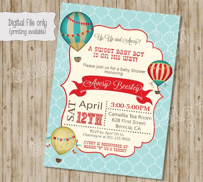 Baby Shower Invitation Hot Air Balloon Baby Shower Invitation