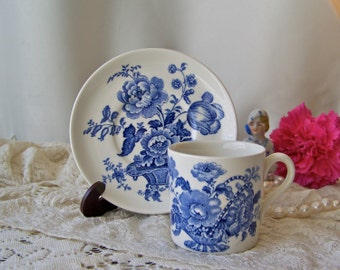 Vintage Demitasse Cup and Saucer Charlotte Royal Crownford Ironstone England Blue and White Teacup and Saucer 1930s