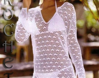For Experience Crocheters, Woman Crochet Pattern for summer pullover cover up Pattern only, BEACH, PDF Files.