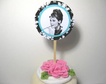 10 Cupcake Toppers - Breakfast at Tiff... Shower - Audrey Hepburn - Black White Damask Wedding - Bridal Shower - Baby Shower - Pink Aqua