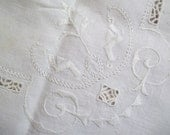 Lot 2 Vintage Natural Linen Square Luncheon Card Tablecloth Embroidered Cutwork C91