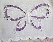Shabby Chic Vintage White Pillowcase Embroidered Openwork Butterfly C96