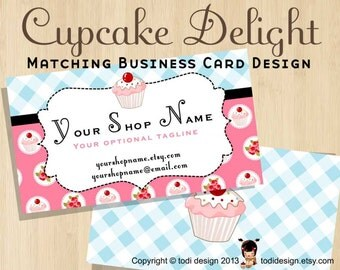 Cupcake illustrated Business Card design to match Cupcake Delight Premade shop set