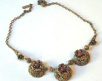 Vintage Amber Color Stone Three-Part Necklace  Downton Abbey Style Edwardian Victorian