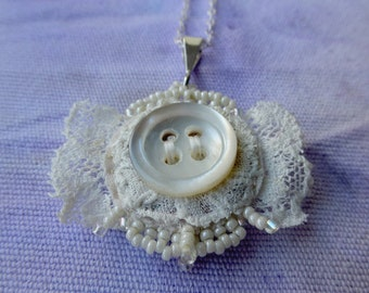 Antique Lace and Vintage Button two sided Pendant
