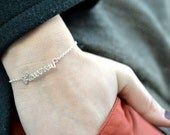 Personalized bracelet with your name or with the word love silver color - Perfect for Valentine, Mother's Day, Wedding, Bridesmaid gifts