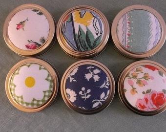 Mason Jar Lid Pincushion Vintage Fabric 6 Pieces DIY-Free Shipping