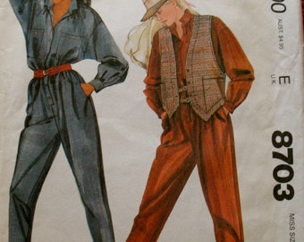 McCall's Vintage Pattern 8703 By Willi Wear LTD, Misses Extra Small, 1980's jumpsuit and vest