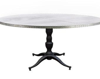 Zinc Table Zinc Dining Table  -  Francesca Round Zinc Metal Top Dining Table Custom Sizes Available