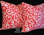 Throw Pillows, Decorative Pillows, Accent Pillows, Pillow Covers - Coral and White - Two 18 Inch