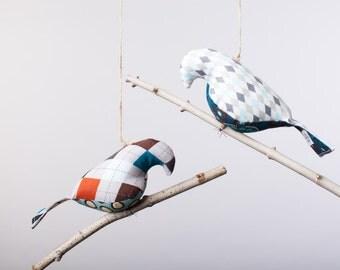 Bird on a Twig in Argyle prints ~ boy bird mobile