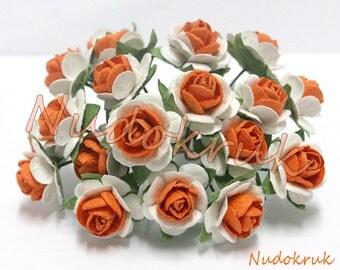 100 White - Orange  Mulberry Paper Rose Flower handmade size 1 cm. ,scrapbooking card , wedding