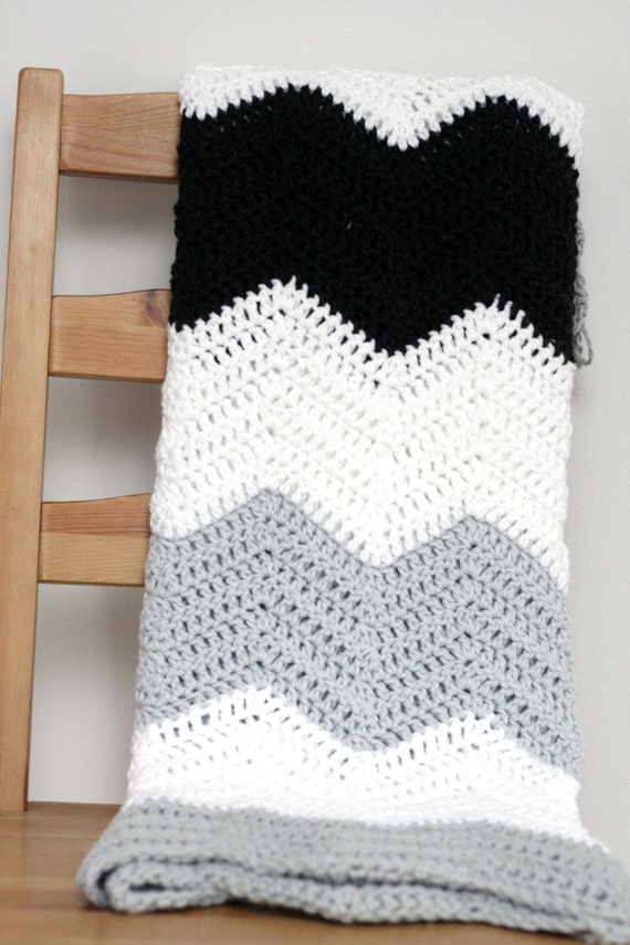 Snap Large Stripe Color Block Crochet Chevron Blanket Pattern From
