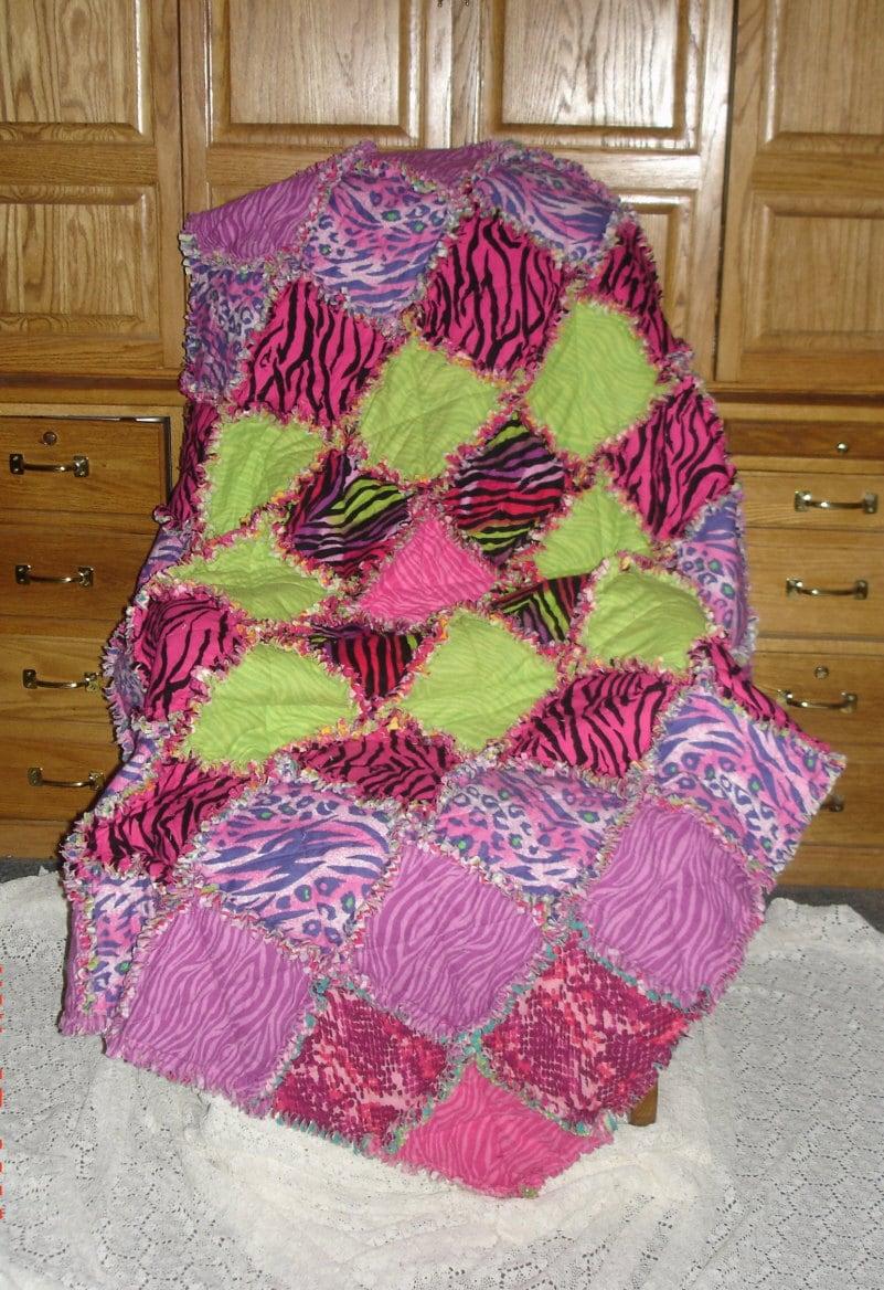 Animal Print Rag Quilt Blanket Cotton Flannel Bright Pink