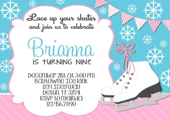 Ice Skating Birthday Invitation 5x7 Printable