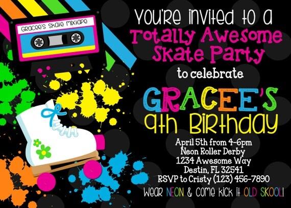 NEON SKATE PARTY 5x7 Invitation Girl Birthday Printable – Skating Party Invites