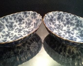 Early Burslem Doulton Floral Sheet Print Transfer Bowls