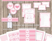 Girl Baby Shower Lil Sweetheart Invitation Party Package, pink baby shower invitation, sweetheart1 (PARTIAL INSTANT DOWNLOAD)
