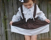 Brown Vine High Low Ruffle Skirt with Matching Suspenders by Papoose Clothing - papooseclothing