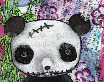 Creepy Cute Zombie Panda Art Giclee Print Signed Reproduction by Lizzy Love [IMG#133]