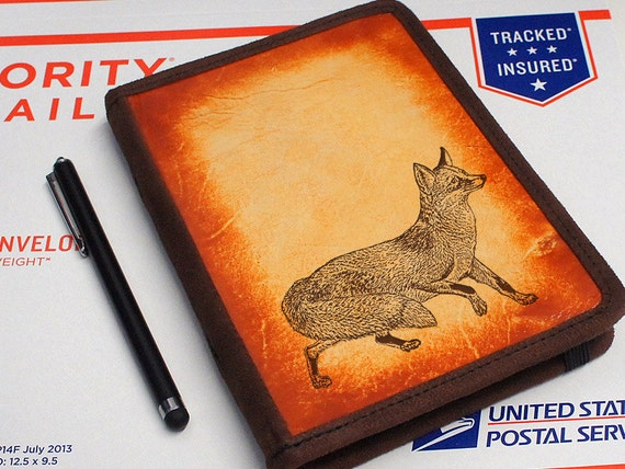 Kindle Leather Cover - Fox - Customizable - Free Personalization