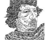 Original Arabic Calligraphy Print- Gaddafi's End NQ007