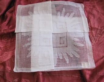 Beautiful Solid White Cotton Hankie Handkerchief - Unused NOS Circa 1950s