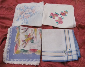 Lot of 4 Assorted Vintage Cotton Printed Hankies
