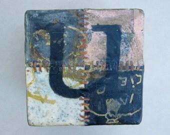 """Wall piece, letter """"U"""", wooden block"""