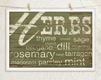 Herbs- 12x18 Art Print -Kitchen, Country, Vintage, Food, Home, Wall Decor -Green, White