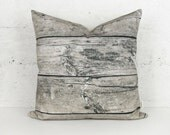 Barnwood Decorative Pillow Cover, Wood Grain Cushion cover, 20x20 Drift Wood Pillow case In Gray, Beige and Black For Urban and Rustic Decor