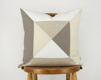 Geometric Colorblock Pillow Case | Cushion Cover in 18x18 inches | Modern Triangle Quilt Pattern in Taupe, White, Cream and Beige