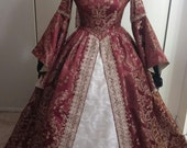 Renaissance dress/gown with French Hood/Headpiece