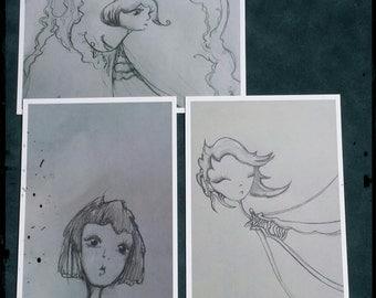 Original Art Photography and Drawings Print/Postcard Set (Black and White)