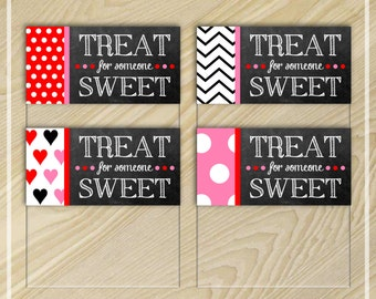 Chalkboard Valentine Treat Bag Toppers