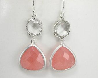 Coral Dangle Earrings, Coral Jewelry, Crystal Earrings, Coral Peach Wedding, Bridesmaid Gift, Bridal Wedding Jewelry, Pink Earrings Silver