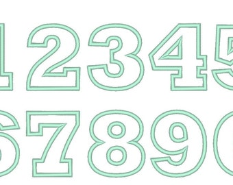 Wide satin stitch Numbers, machine embroidery applique designs - 2, 3, 4, 5 and 6 inches