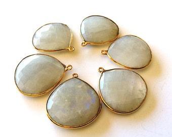 1 Pcs-Moon stone Faceted heart shape Connectors Pendants, Bezel Set, Gold Vermeil...25mm Approx...