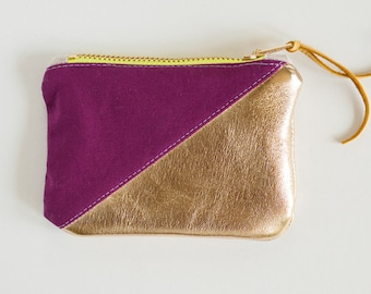 Gold and purple leather coin purse / change wallet