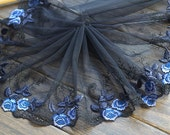 2 Yards Lace Trim Exquisite Light Purple Blue Rose Flower Embroidered Black Tulle Lace 8.26 Inches Wide High Quality