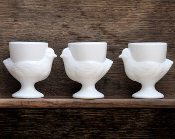 Set of 3 french egg cups vintage Milk glass egg cups, shape of chickens.