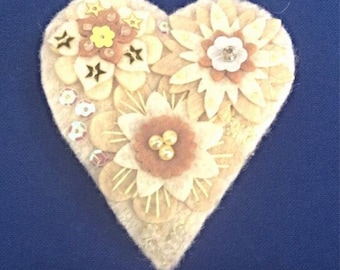 Winter white felt brooch with embroidery and embellishment