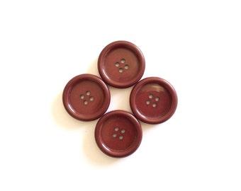 4 Large Vintage Buttons, Burgundy, Plum, Plastic 34mm