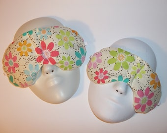 Herbal Hot/Cold Therapy Sleep Masks Mommy & Me Set with adjustable and removable strap Fun Daisies