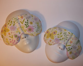 Herbal Hot/Cold Therapy Sleep Masks Mommy & Me Set with adjustable and removable strap Dainty Flowers and Butterflies