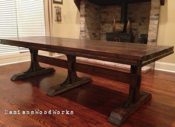 Items similar to Handcrafted Farmhouse Dining Table Solid Wood 8 ft Tri