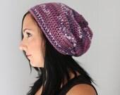 Purple Berry Mix Slouchy Beanie, Purple Winter Fashion Accessories
