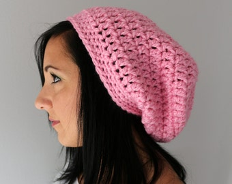 Pink Crochet Slouchy Beanie Hat, Winter Accessories