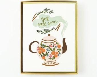Get Well Soon Teapot Card 10pcs